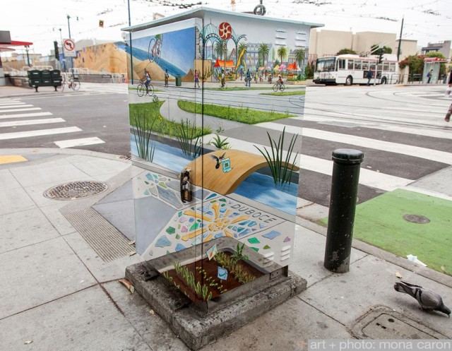 Manifestation Station, Clever Disappearing Utility Box Mural by Mona Caron