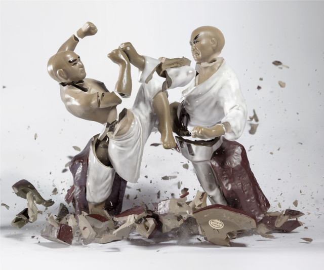 Shattering porcelain figurine photos by Martin Klimas