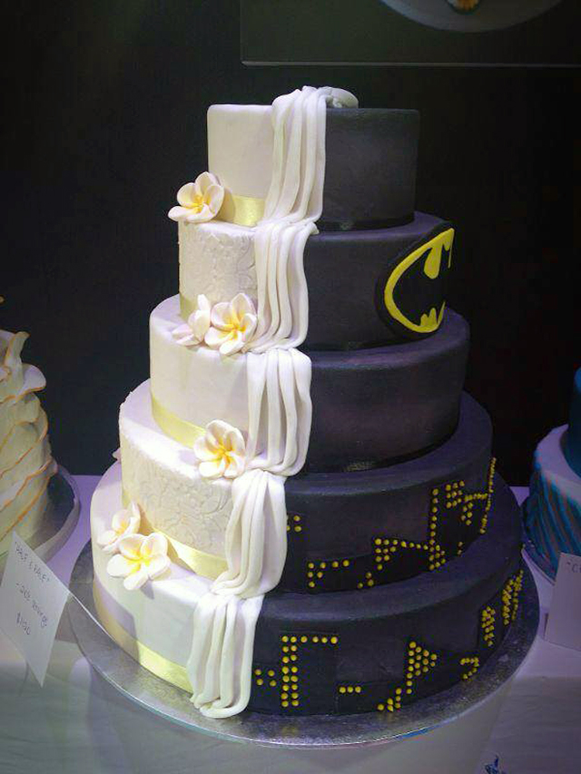 Split Cake Design is Half BatmanThemed Half Ordinary Wedding Cake