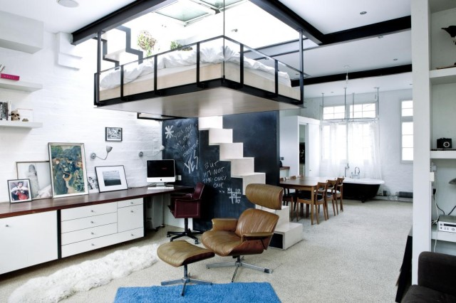 Bed Suspended From Ceiling in London Apartment