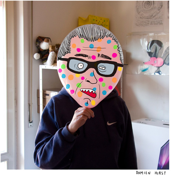 Balloon head caricatures of famous artists