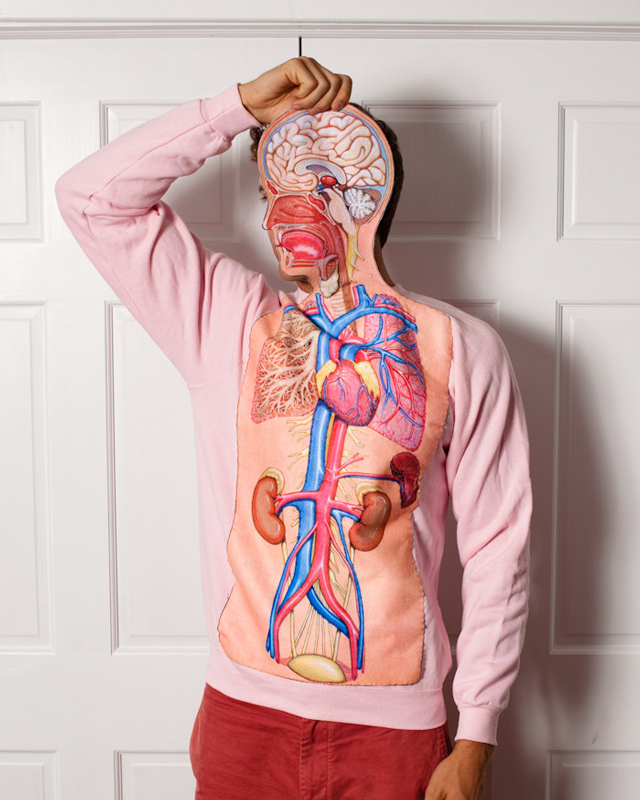 Clever Vintage Sweatshirt With Human Body Illustration On Front