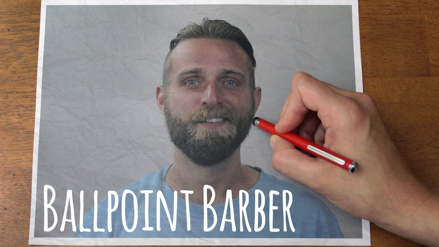 Ballpoint Barber, Stop-Motion Video of a Man Getting His Hair & Beard Drawn On With a Magic Pen