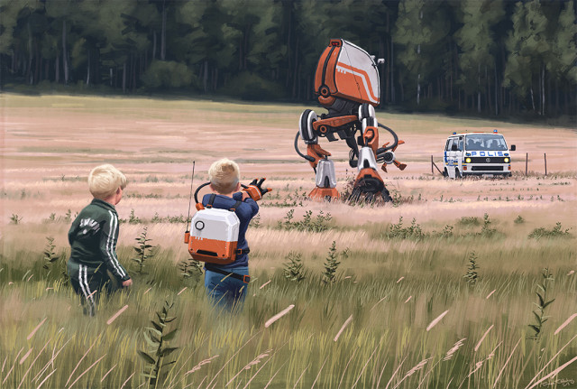Retrofuturistic paintings by Simon Stalenhag