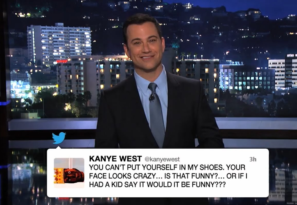 jimmy kimmel and kanye west feud across twitter and television