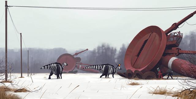 Retrofuturistic paintings by Simon Stalenhag