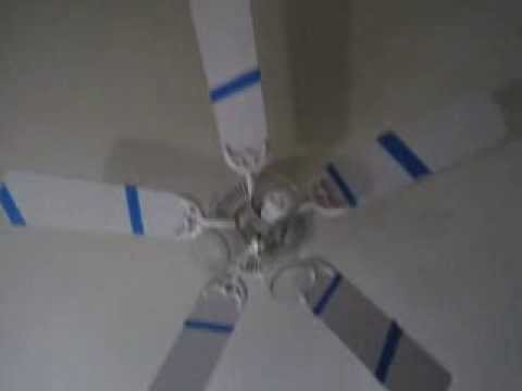 Putting Colored Tape on a Ceiling Fan to Create an Animated Spiral