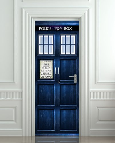 TARDIS Door Decal & Vinyl Door Decal That Looks Like the TARDIS From u0027Doctor Whou0027