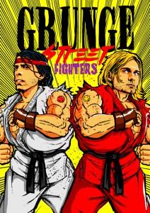 Dave Grohl and Kurt Cobain (Nirvana) as Ryu and Ken