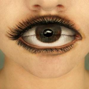 Eyeball Painted on Lips