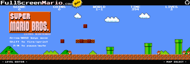 Full Screen Mario, A Browser-Based HTML5 Remake of the