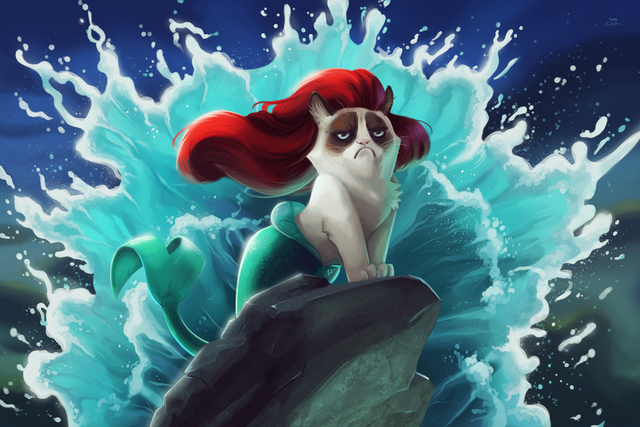 Grumpy Cat Illustrated as Disney Princesses & Other Protagonists