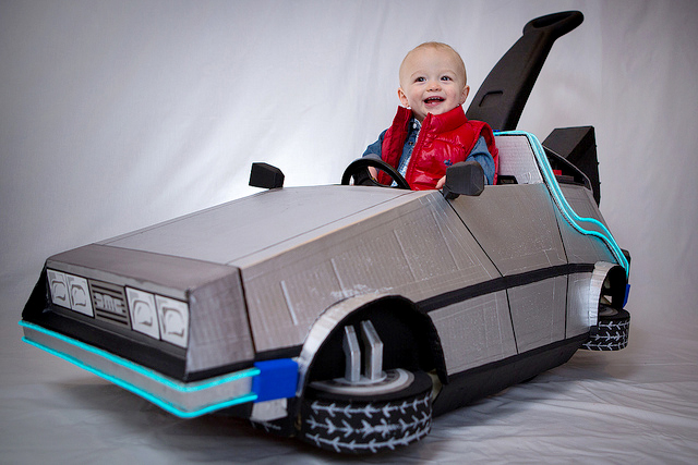 Littlest Marty McFly and his Delorean Push Car by cory4281