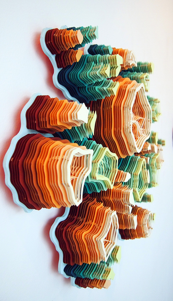 layered cut paper sculptures inspired by nature