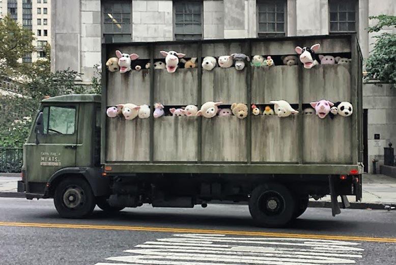 Banksy Sends a Slaughterhouse Truck Full of Screaming Stuffed Animals Around New York City