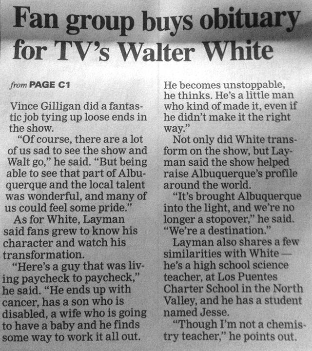 Walter White Obit