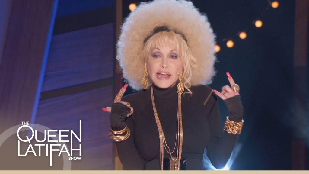 Dolly Parton Raps on 'The Queen Latifah Show' Donning a Giant Blond Afro Wig