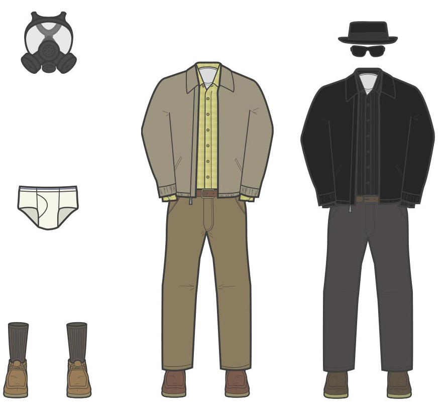 The Wardrobe of Walter White Season 1 Close