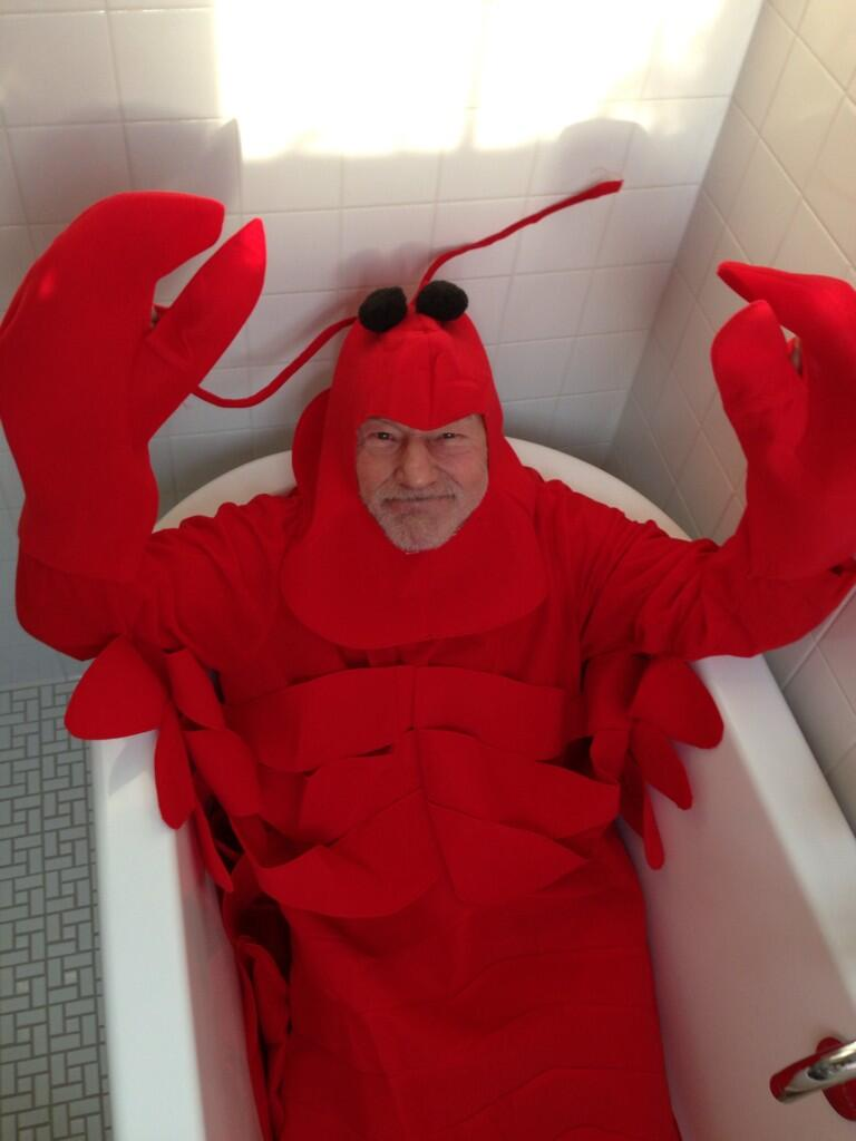 Sir Patrick Stewart Celebrates Halloween As A Lobster In A Bathtub