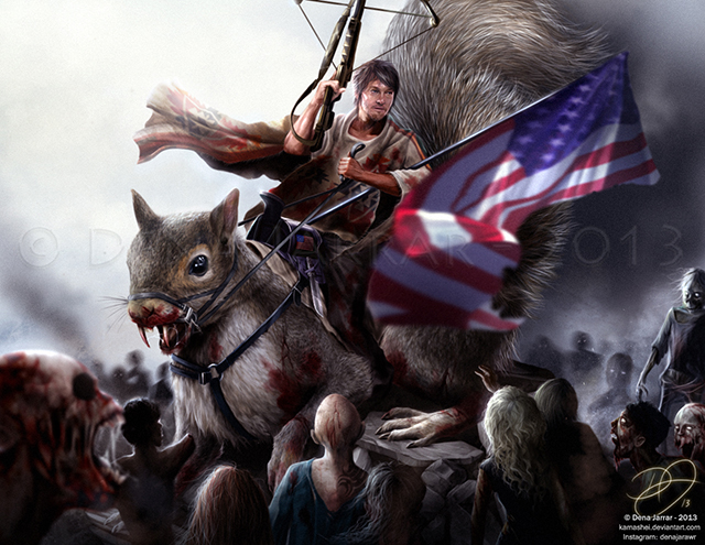 ... Walking Dead' Riding a Giant Deadly Squirrel While Battling Zombies