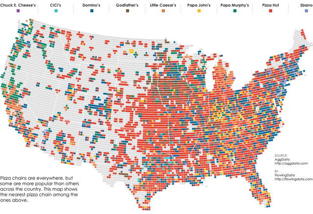 A Map of Popular Pizza Chains in the United States