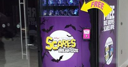 Man Hides in Vending Machine to Hand Out Tricks Instead of Treats