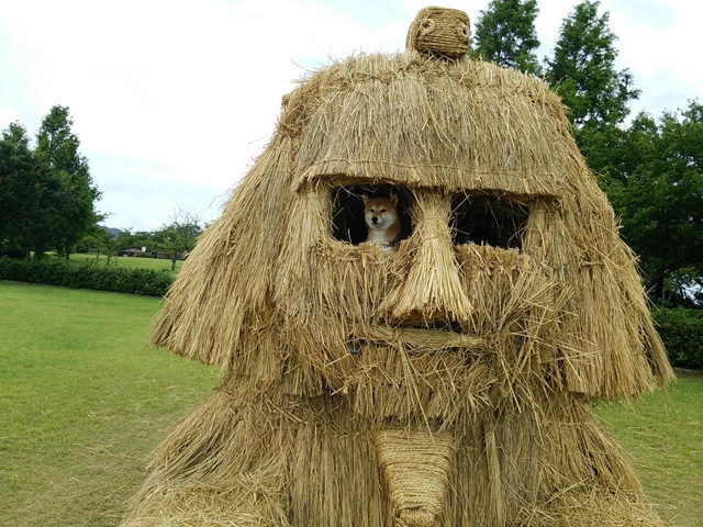 Japanese straw sculptures