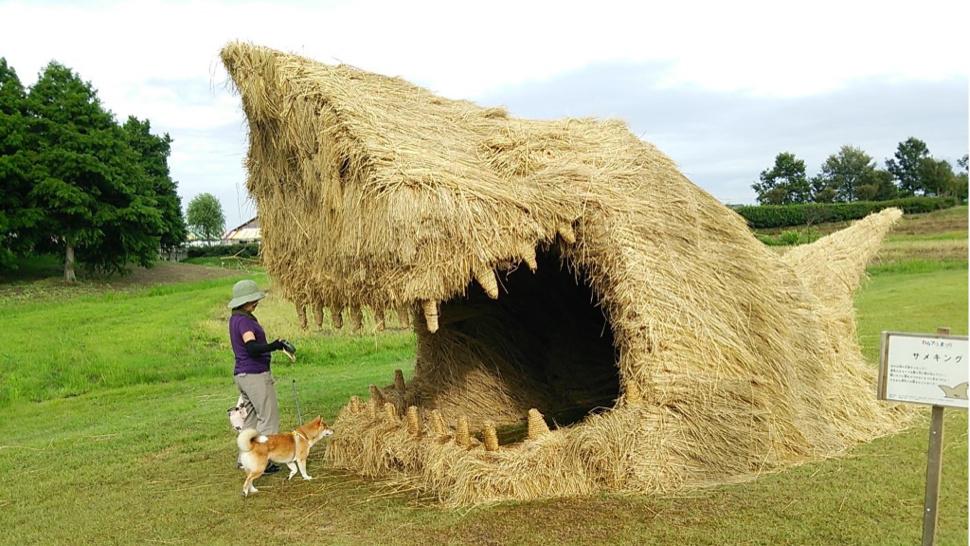 Japanese straw sculptures