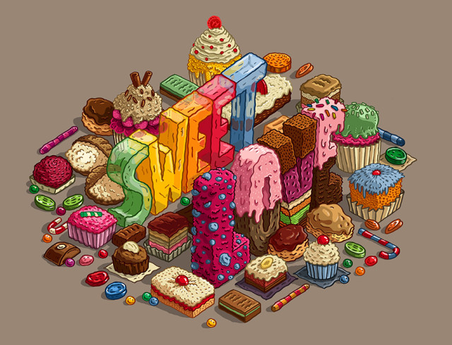 Food lettering illustrations by Jorge Tabanera