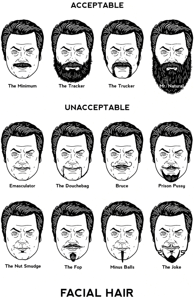 Facial Hair Styles Pictures: Nick Offerman's Guide To Facial Hair, An Illustration By