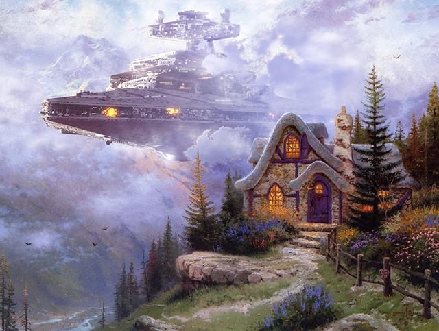 Artist Adds Star Wars Themes to Thomas Kinkade Paintings