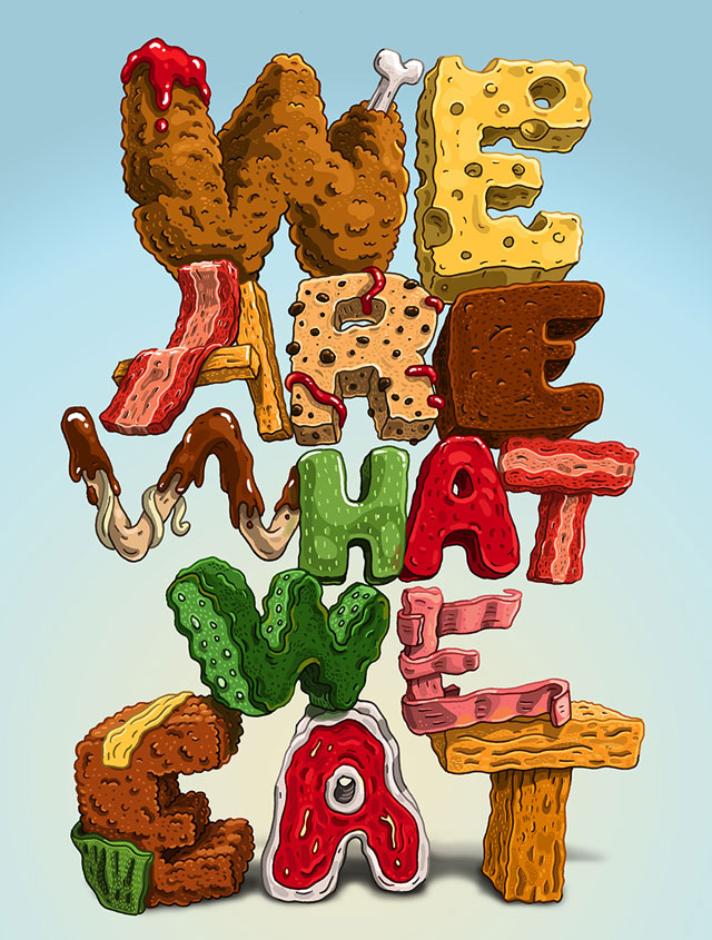 Food lettering illustrations by Jorge Tabanera