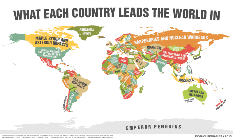 What Each Country Leads the World In