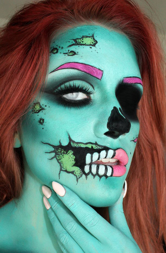 makeup artist turns herself into a mesmerizing pop art zombie. Black Bedroom Furniture Sets. Home Design Ideas