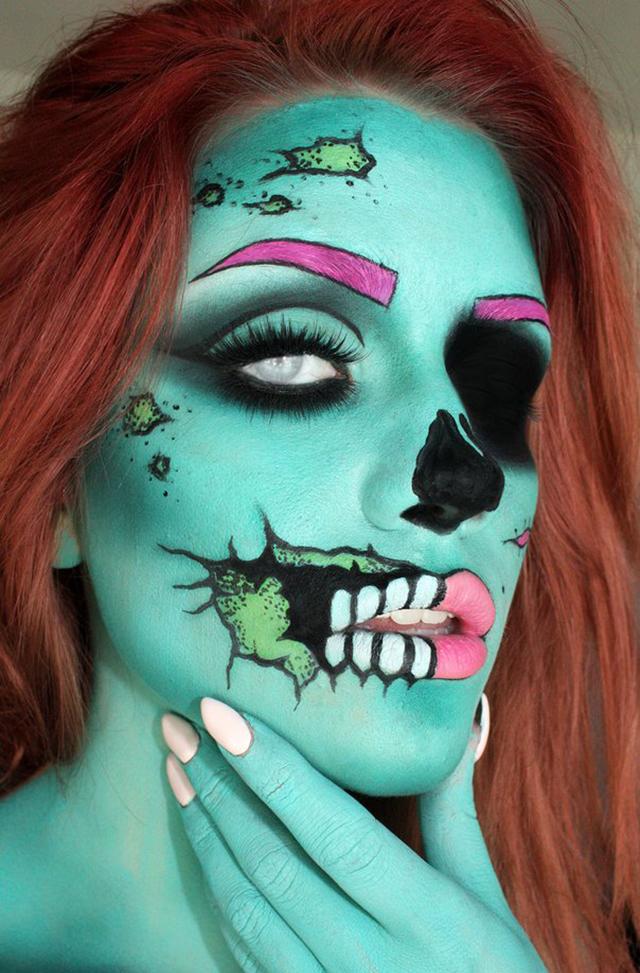 Makeup Artist Turns Herself Into a Mesmerizing Pop Art Zombie