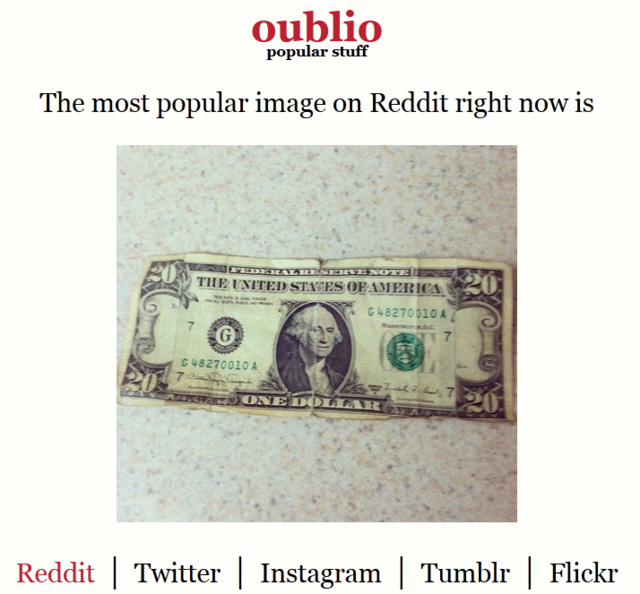 Oublio, A Website Displaying the Most Popular Images on Reddit