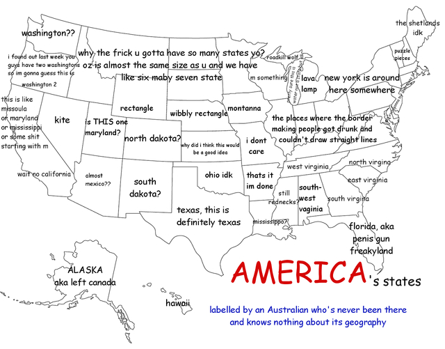 A Funny Map Of The United States As Labeled By An Australian - The us map labeled