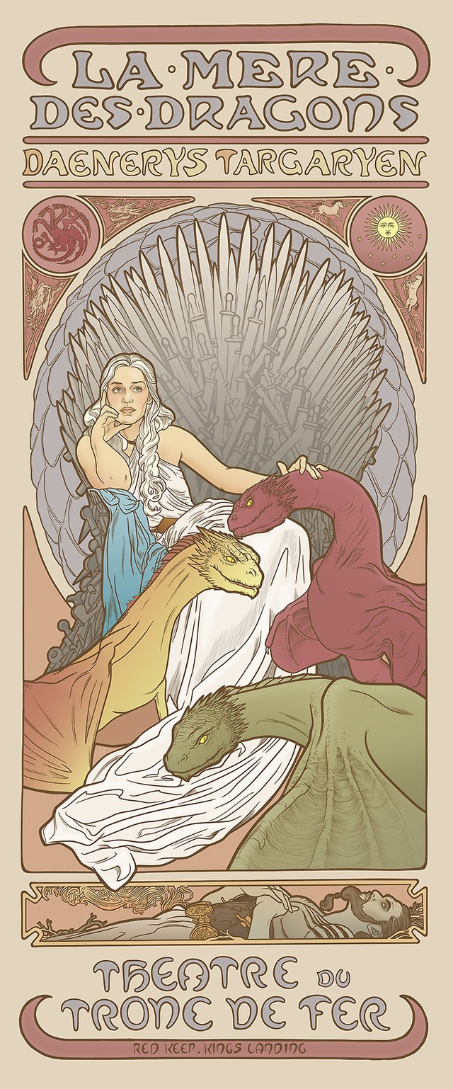 Game of Thrones Women Drawn in the Art Nouveau Style of Alphonse Mucha