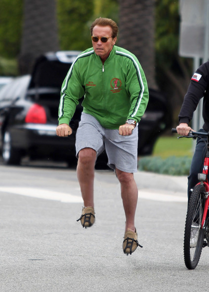 Celebrities riding invisible bikes