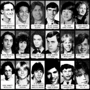 Yearbook pictures of rock and metal icons