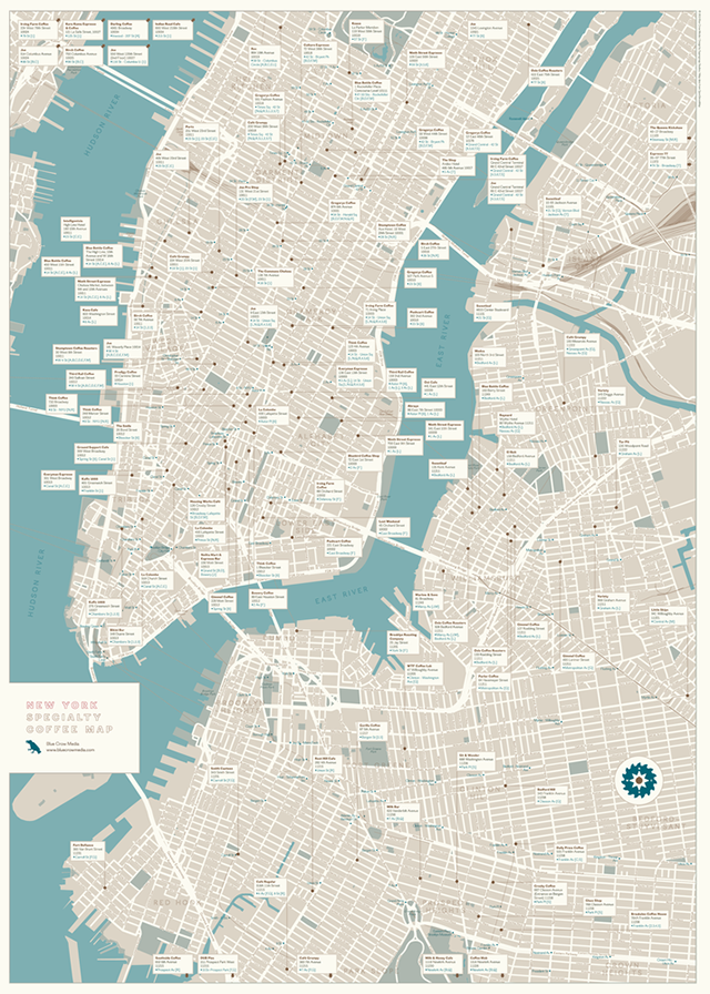 a map featuring over 100 specialty coffee shops in new york city