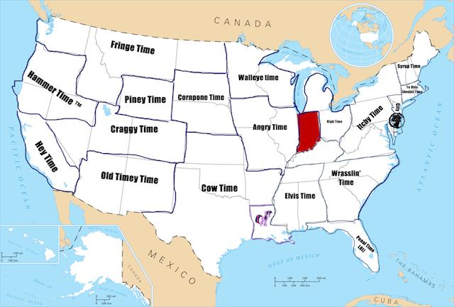19 Time Zone U.S. Map