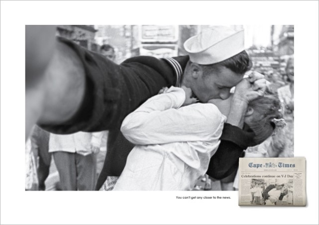 Famous Historical Photos Transformed into Selfies for South African Newspaper Ad Campaign