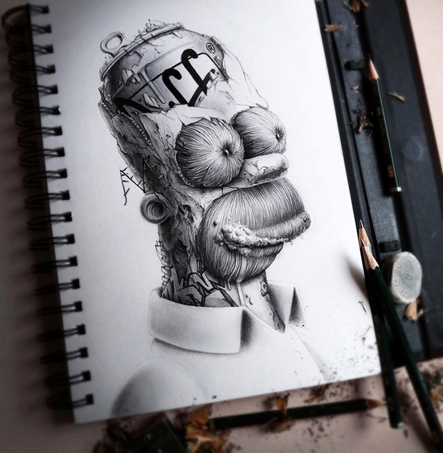 distroy creepy graphite drawings of popular cartoon