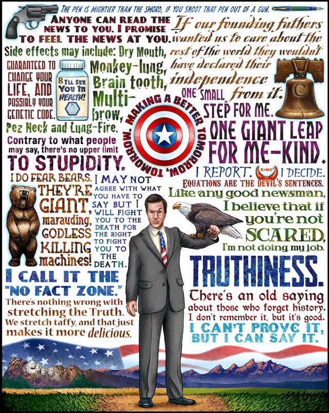 Truthiness, An Art Print Tribute to Stephen Colbert by Chet Phillips