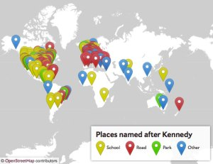 Interactive map of places named after John F. Kennedy