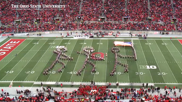The Ohio State Marching Band Honors 150th Anniversary of the Gettysburg Address During Halftime Show