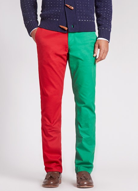 Panta Claus, Chino Pants With One Red & One Green Leg