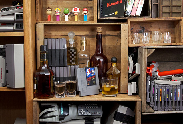 Whiskey Flasks Made From Classic Nintendo Video Game Cartridges