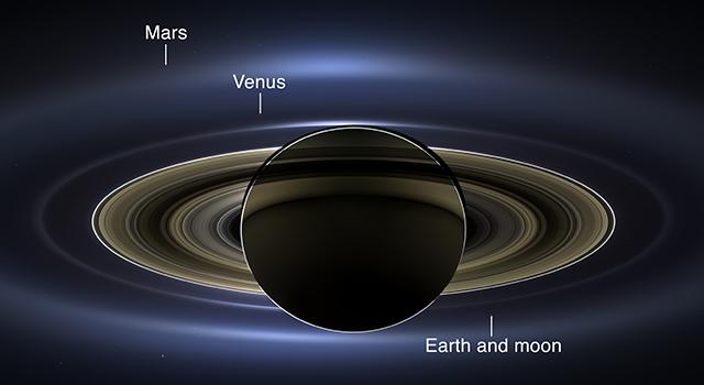NASA image of Saturn and Earth
